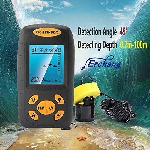 Erchang Sonar Fish Finder Portable Fish Finder with Round Sonar Sensor Alarm Transducer Fish Finder Erchang Fish Finders And Other Electronics