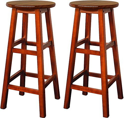 cucunu Bar Stools Set of 2 Made of Massive Acacia Wood 30 Inch I Wooden Counter Height Barstool