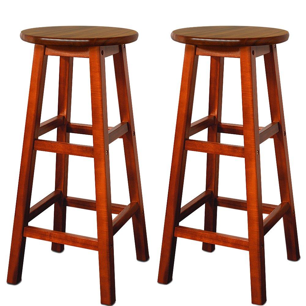 2x Barhocker Akazien Holz Braun   Barstuhl Bar Stuhl Küche Küchenstuhl