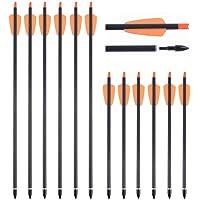 SHARROW 12 Piezas Flechas de Ballesta 15 Pulgadas 7.3 Pulgadas Flechas de Carbono Pernos Flechas para Ballesta Spine 350