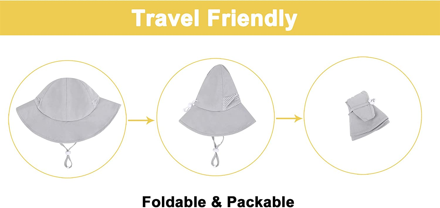 Simplicity Toddlers Adjustable UPF 50 Sun Protection Wide Brim Travel Hat