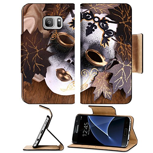 Pantomime Costumes Cheap (Luxlady Premium Samsung Galaxy S7 Flip Pu Leather Wallet Case IMAGE 24105092 Mask on golden fabric on wooden background)