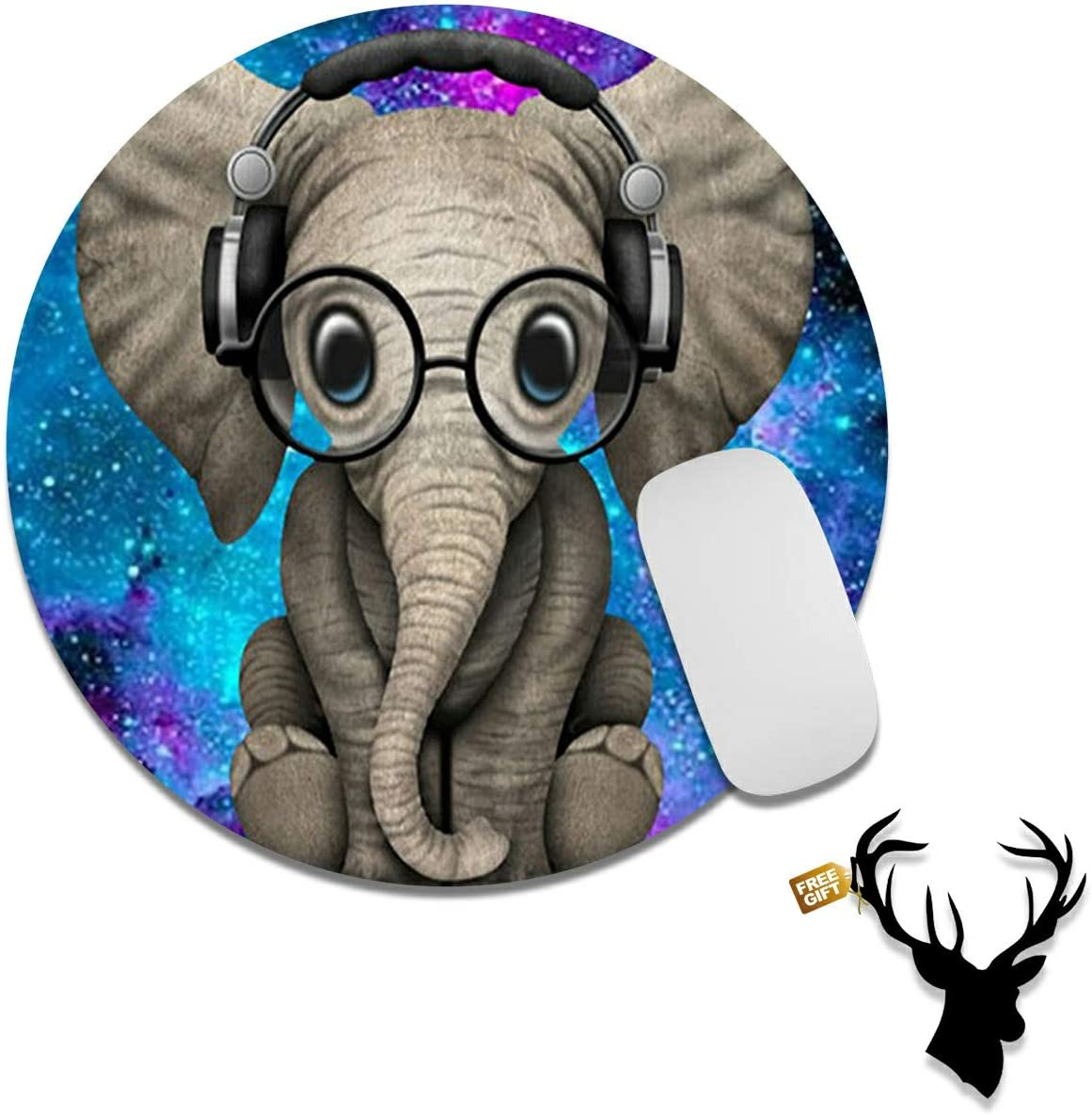 Gaming Mouse Pad Mat Elephant in Blue Galaxy Mousepads with Cute Stickers Non-Slip Rubber Base Round Mouse Pads for Laptop Compute Working Home Office Accessories