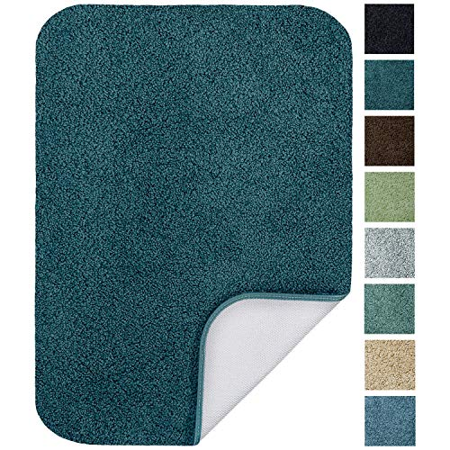 Maples Rugs Bathroom Rugs – SofTec 17″ x 24″ Non Slip Washable Bath Mat [Made in USA] Soft & Quick Dry for Vanity and Shower Teal