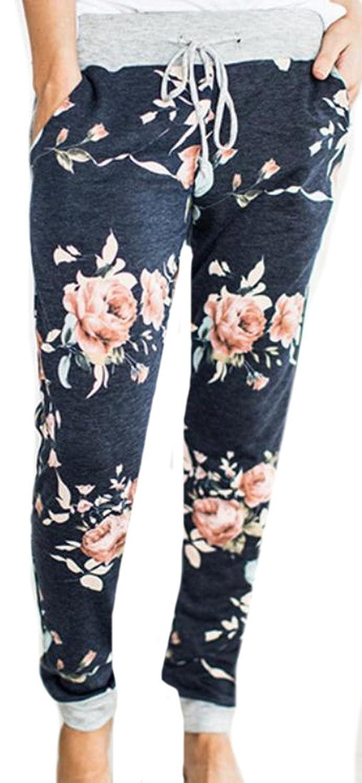 Cruiize Women Casual Print Flower Drawstring Loose Long Ankle Pants