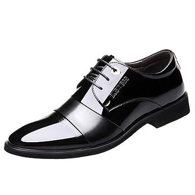 Braunes Leder Schuhe Jungen Brogue Office Lace-up Business Kleid Schuhe Tipps Freizeitschuhe,Black-39