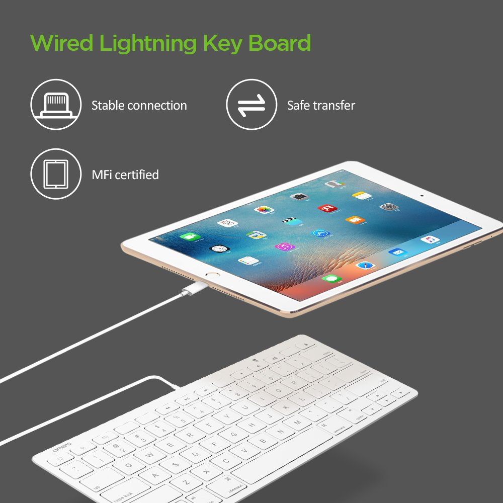 Wired Lightning Keyboard for iPad OMARS Multi-Media US: Amazon.co.uk ...