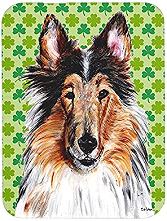 Large Multicolor Carolines Treasures SC9694LCB Collie Hearts and Love Glass Cutting Board
