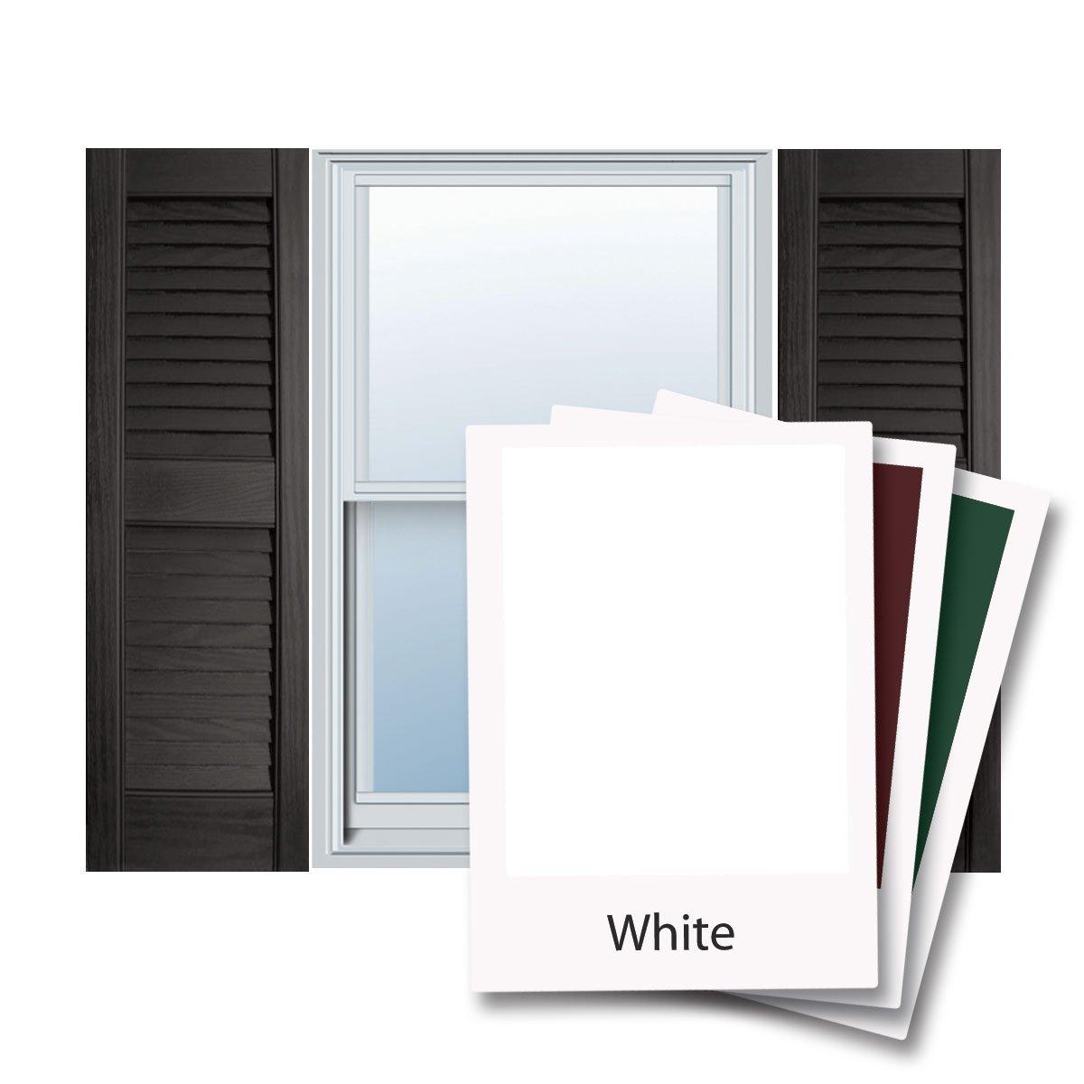 12'' x 28'' Builders Choice Vinyl Open Louver Window Shutters, w/Shutter Spikes & Screws (Per Pair), White