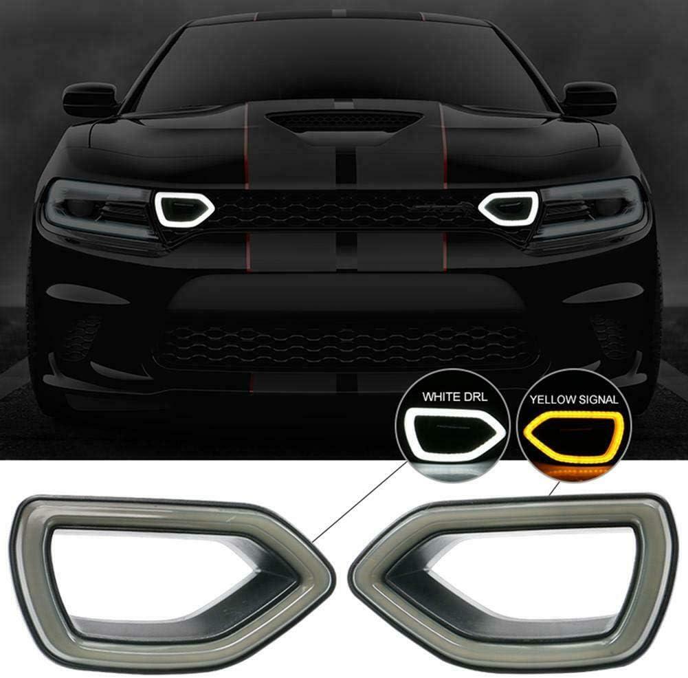 sportuli SRT Scat Pack Grille Smoke LED Lights Compatible with Dodge Charger 2015 2016 2017 2018 2019