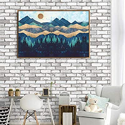 Framed Canvas Home Artwork Decoration Abstract Mountain Nature Scenery Canvas Wall Art for Living Room, Bedroom - 16x24 inches