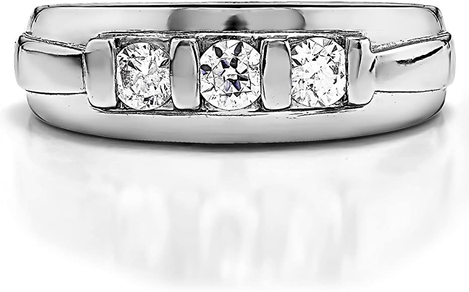 0.3Ct Sterling Silver Mens Wedding Band Charles Colvard Moissanite Size 3 to 15 in 1//4 Size Intervals