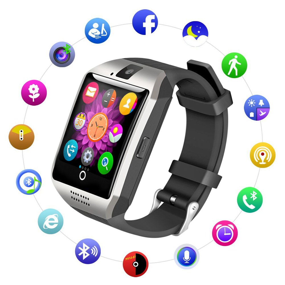 UWINMO Bluetooth Smart Watch, Touch Screen Smart Wrist Watch Q18 with Sim Card Slot for Android Samsung iOS iPhone 7 Plus 6S, Smartwatch for Kids Men ...