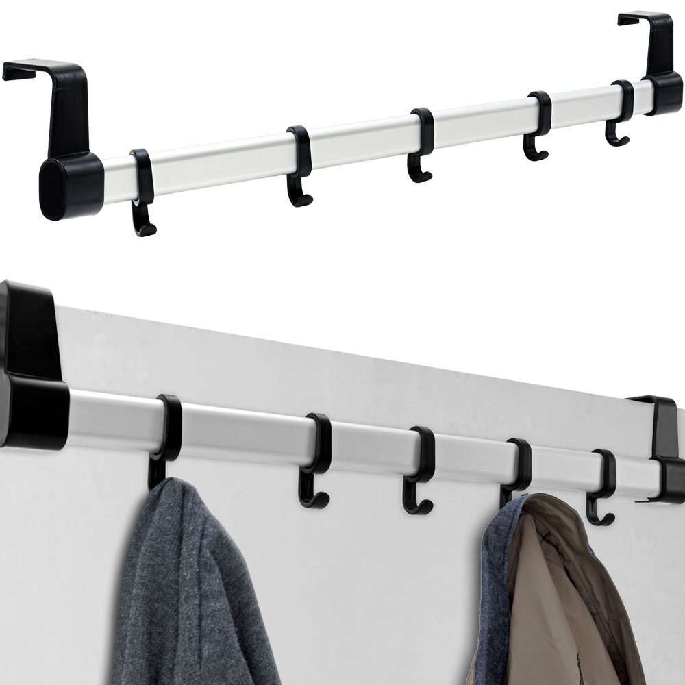 5 Haken BAKAJI Kleiderhaken f/ür T/üren verstellbar Mehrfarbig mit Stange