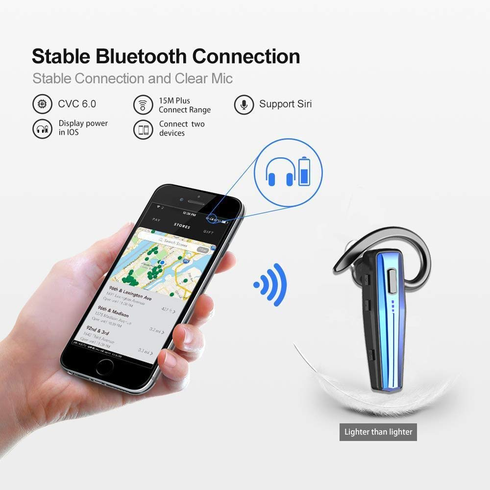 Bluetooth Headset, Handsfree Wireless Earpiece with Mic and Mute Key for Business/Office/Driving (Bluetooth V5.0, 240 Hours Standby Time, Blue)