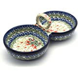 Polish Pottery Bowl - Double Serving - Crimson Bells