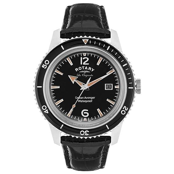 Rotary Relojes Hombre Suizo Océano Avenger Esfera Negra Reloj Correa De Cuero GS90095/04