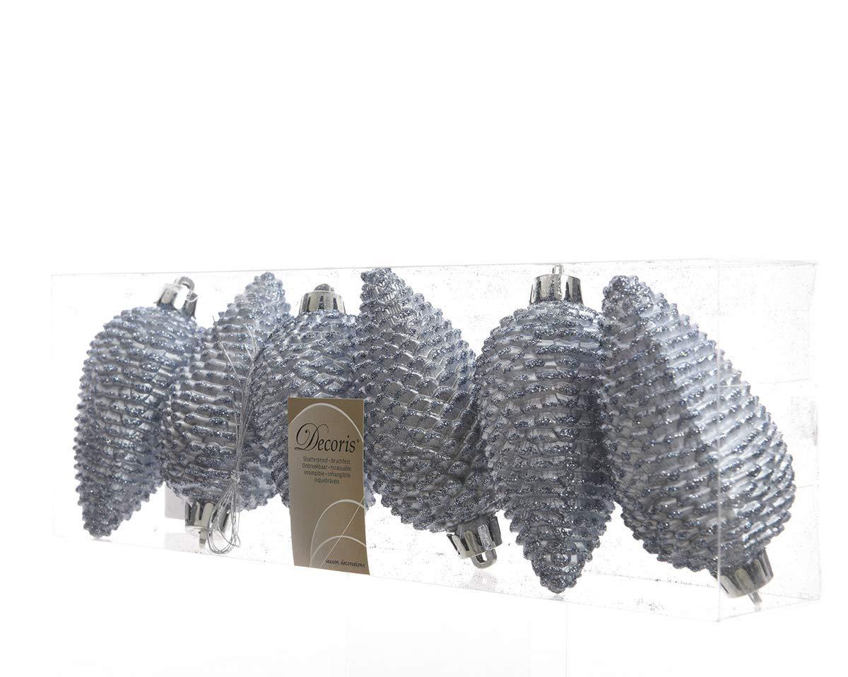 6 Zapfen Set Aufh/änger Kunststoff //// Weihnachtskugeln Baumschmuck Dekokugeln Glitter Baumkugeln bruchfest Christbaumkugeln Christbaumschmuck mint