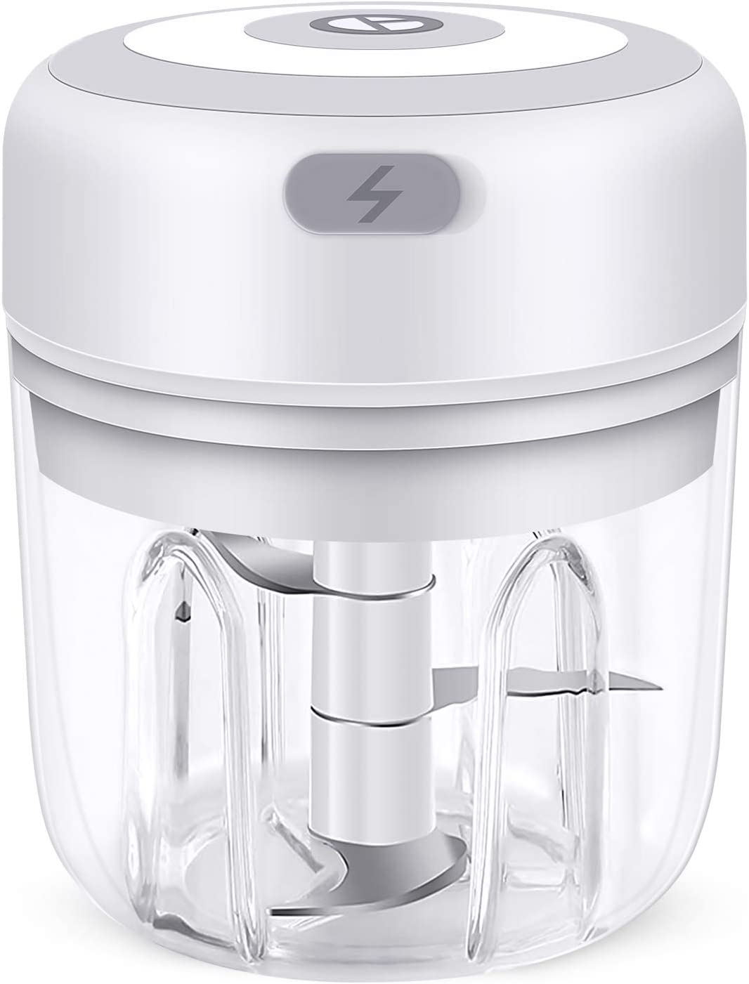 Vsadey Electric Mini Garlic Chopper, Palm-sized Smart Food Chopper Slicer, USB Charging Wireless Portable Kitchen Food Processing Small Tool for Garlic Onions Ginger Meat and Other Fruits Vegetables