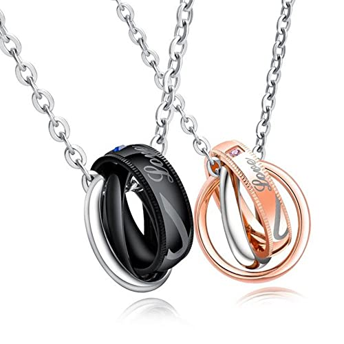 c41d85a4a6 Feraco His Her Promise Couples Necklace Matching Set Titanium Steel Love  Heart Pendant with Chain