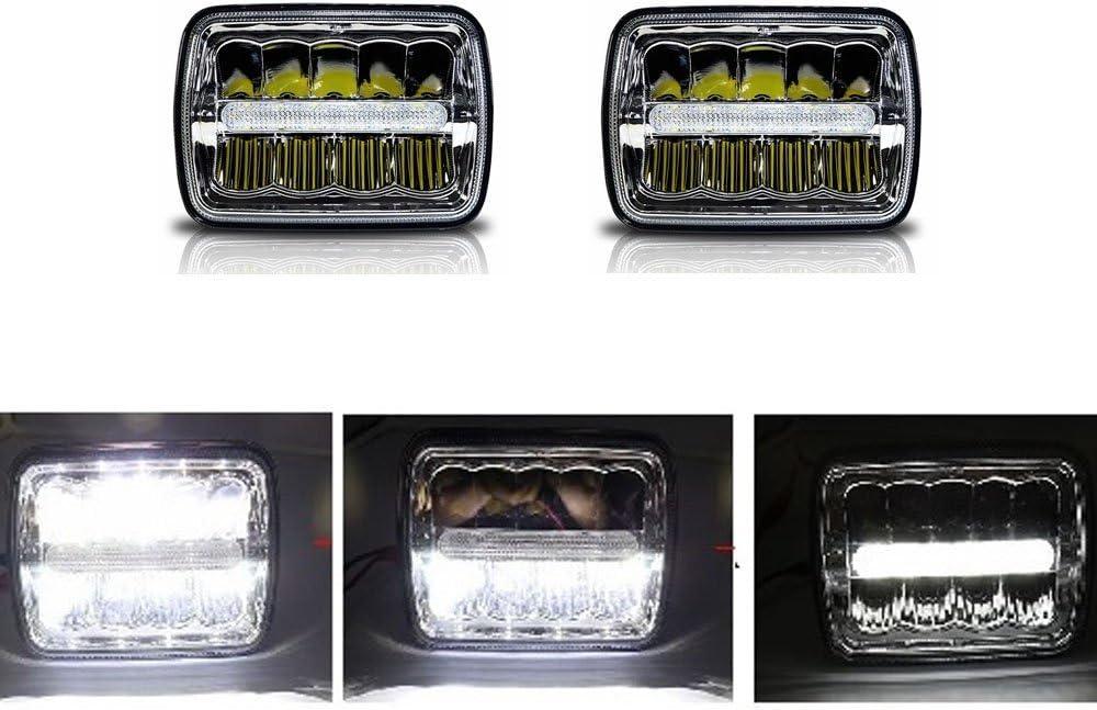 17 8 X 15 2 Cm Led Scheinwerfer Rechteckig 12 7 X 17 8 Cm Abgedichteter Strahl Quadratischer Scheinwerfer Fern Abblendlicht Mit Standlicht Ersatzlicht 2 Stück Auto