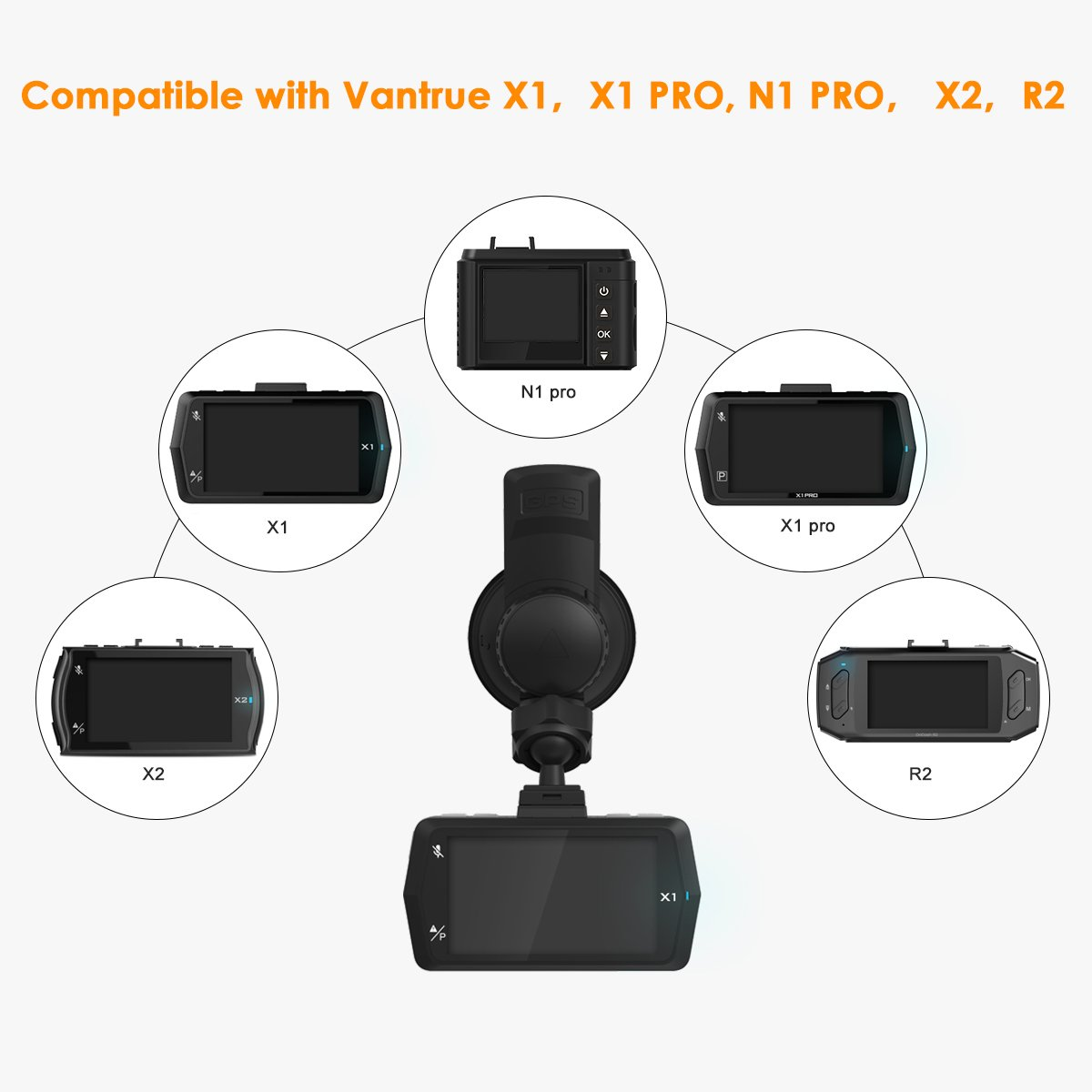 N1 Pro X1PRO Upgrade New Version Vantrue X1 R2 Dash Cam Mini USB Port Car Suction Cup Mount with GPS Receiver Module for Windows and Mac X2