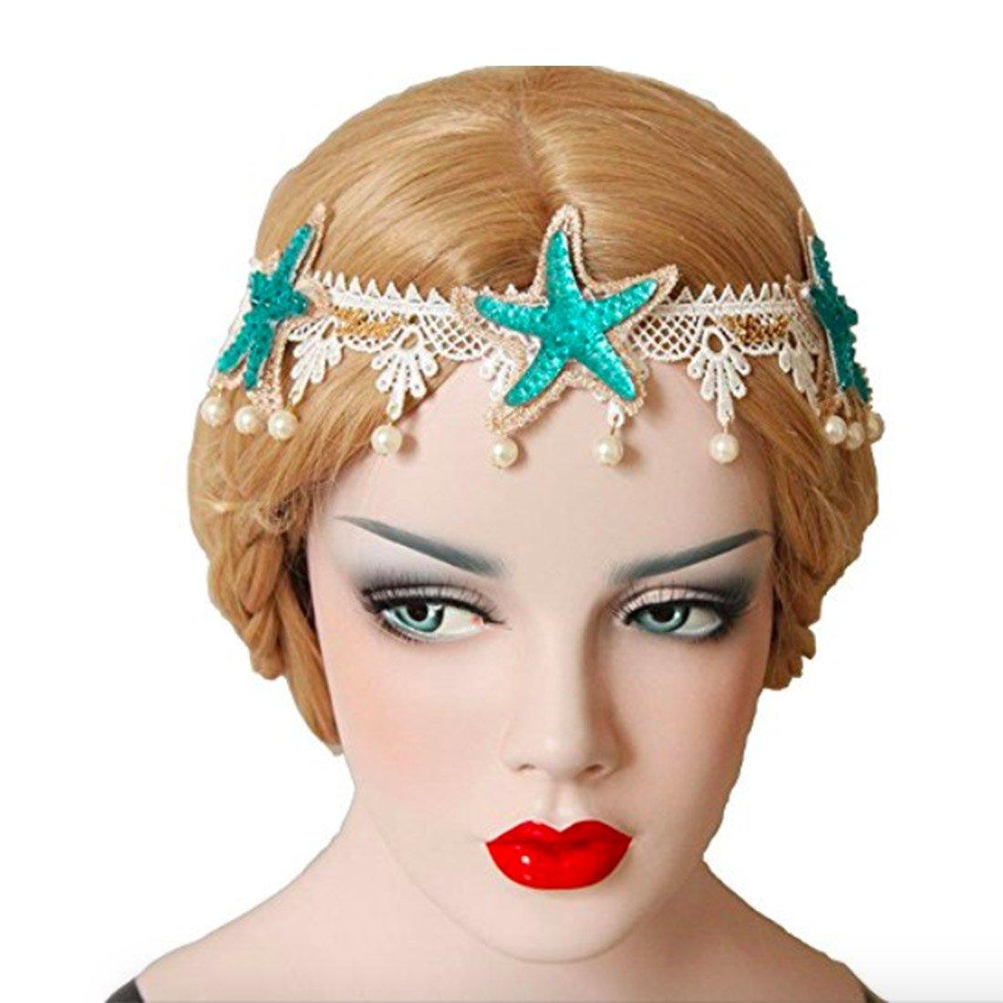 Neal LINK Women's Mermaid Sea Star Turquoise Starfish Artificial Pearl Headband Hairpin Bohemia (Blue 1)