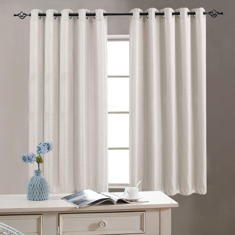 """Kitchen Curtains for Living Room Window Treatment 66"""" W x 54"""" L Waffle Woven Textured Curtain Panels for Bathroom Eyelet, 2 Panels, Oyster"""
