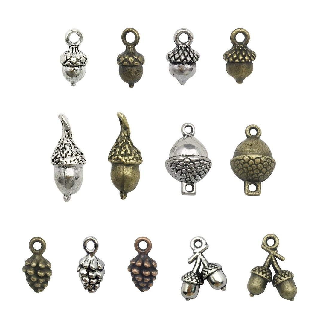 100g Craft Supplies Antique Bronze Silver 3D Pineal Fruit Acorn Nut Charms Pendants for Crafting Acorn Charms Jewelry Findings Making Accessory For DIY Necklace Bracelet M95