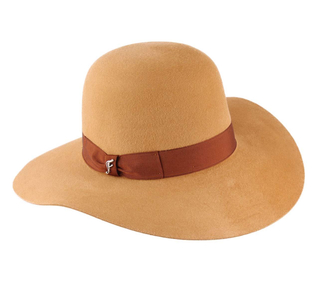 Flechet Women's Fantine Wool Felt Floppy Hat Water Repellent Wide Brim Size M Moutarde