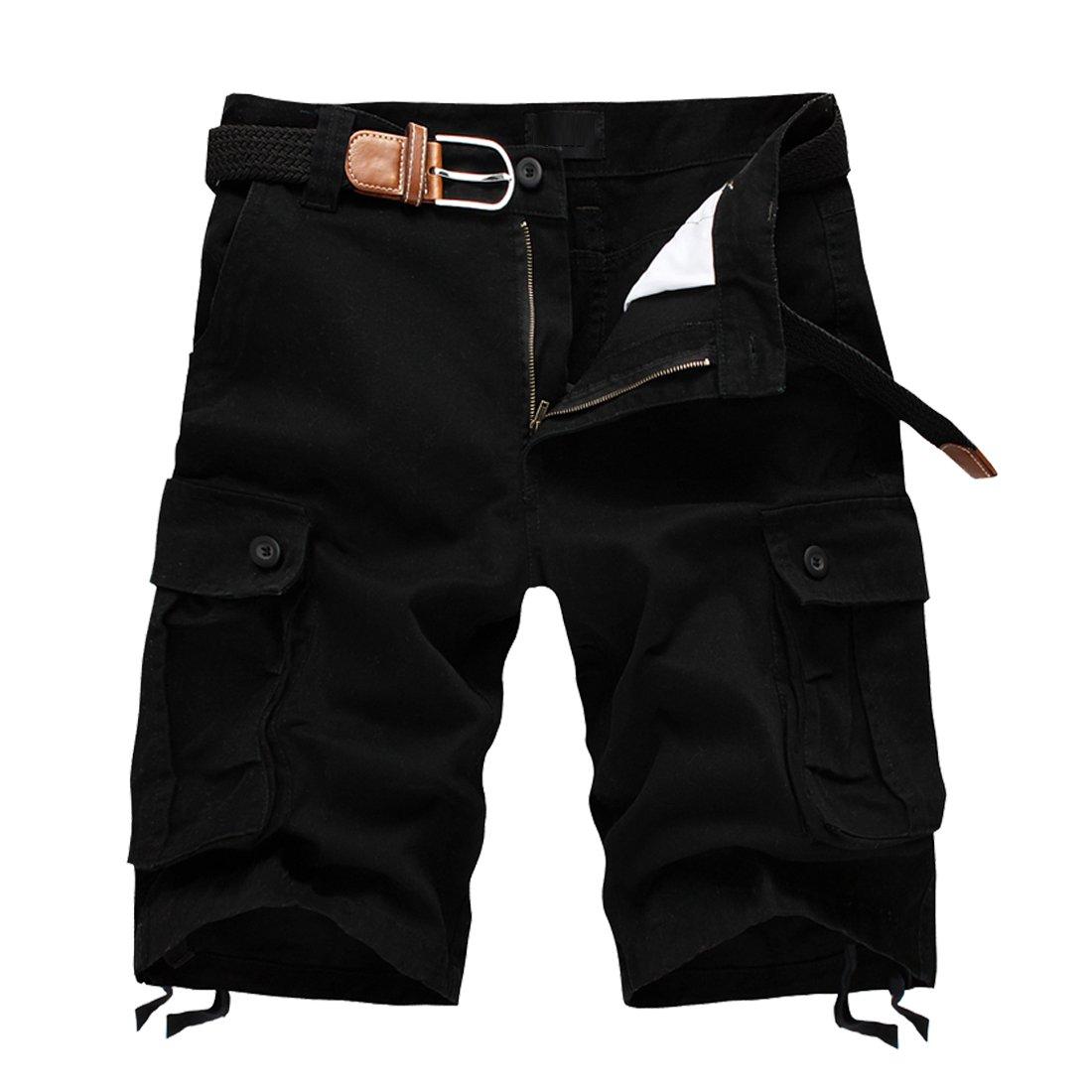 DR. MAのGOTEK Cotton Casual Mens Cargo Shorts Pants Summer Fashion Sports Beach Travel Pockets Camouflage Shorts (Black, 42)
