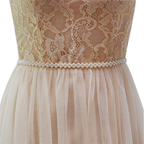 Azaleas Women's Pearls Bridal Bridesmaid Dresses Sash Belts Ivory One Size