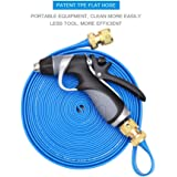 Vetroo 15m / 50ft Lay-Flat TPE Discharge Garden Water Hose Pipe (Copper Alloy) with Heavy Duty High Pressure Nozzle Sprayer (Blue)