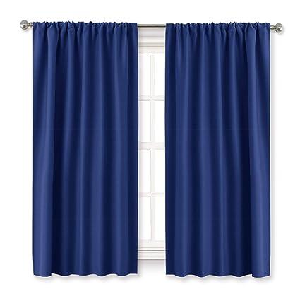 Gentil Blue Curtains Blackout For Bedroom   RYB HOME Rod Pocket Window Treatments  Room Darkening Light Block