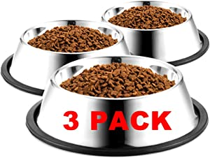 WEDAWN Stainless Steel Dog Bowls,Cat Bowl Water and Food with Rubber Base,Puppy Dishes 8oz 16oz 26oz 30oz for Small/ Medium/ Large Dogs, Cats, Rabbit and Kitten (Set of 3)
