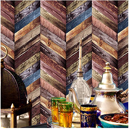 3176 Chevron Wood Wallpaper Rolls, Colorful Faux Wood Textured Paneling Wall Mural Kitchen Bedroom Living Room Hotels Wall Decoration 20.8