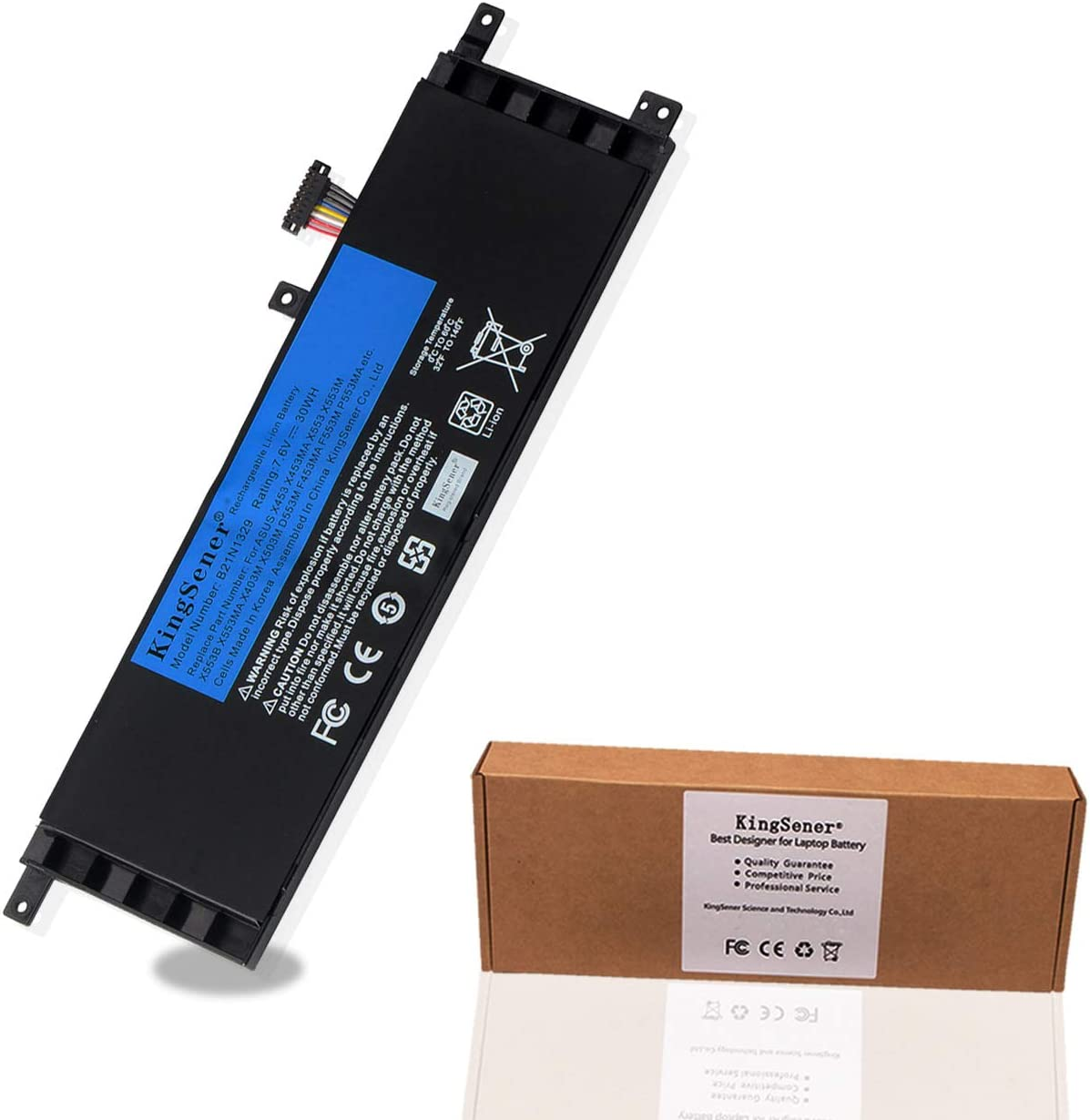 KingSener B21N1329 Laptop Battery for ASUS D553M F453 F453MA F553M P553 P553MA X453 X453MA X553 X553M X553B X553MA X403M X503M 7.6V 30WH