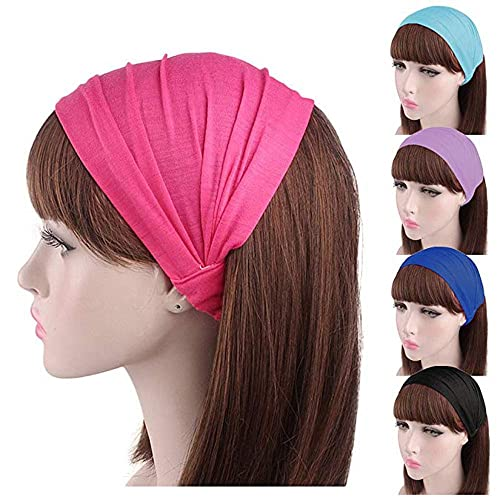 5b63d1f22ac3 Image Unavailable. Image not available for. Color  5 Pieces Sweat Wicking  Stretchy Athletic Bandana Headbands Head wrap Yoga Headband