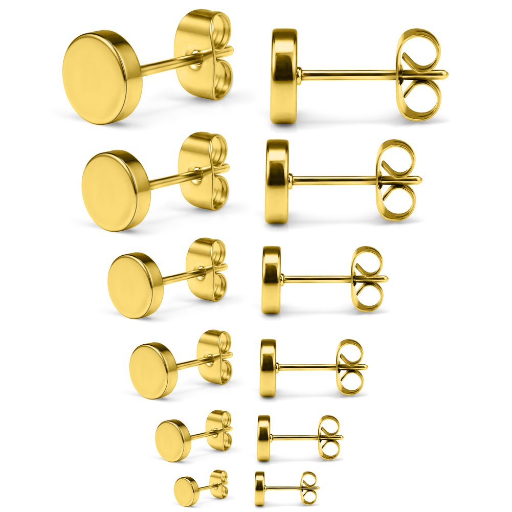 SCERRING 6 Pairs 20G Stainless Steel Flat Top Stud Earrings Set for Men Women Barbell Stud Earrings Assorted Sizes 3-8mm EDS0037