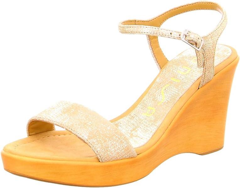8103bc7b387 Unisa Rita - Sandalias de Vestir de Cuero Repujado para Mujer Dorado Gold  Beige