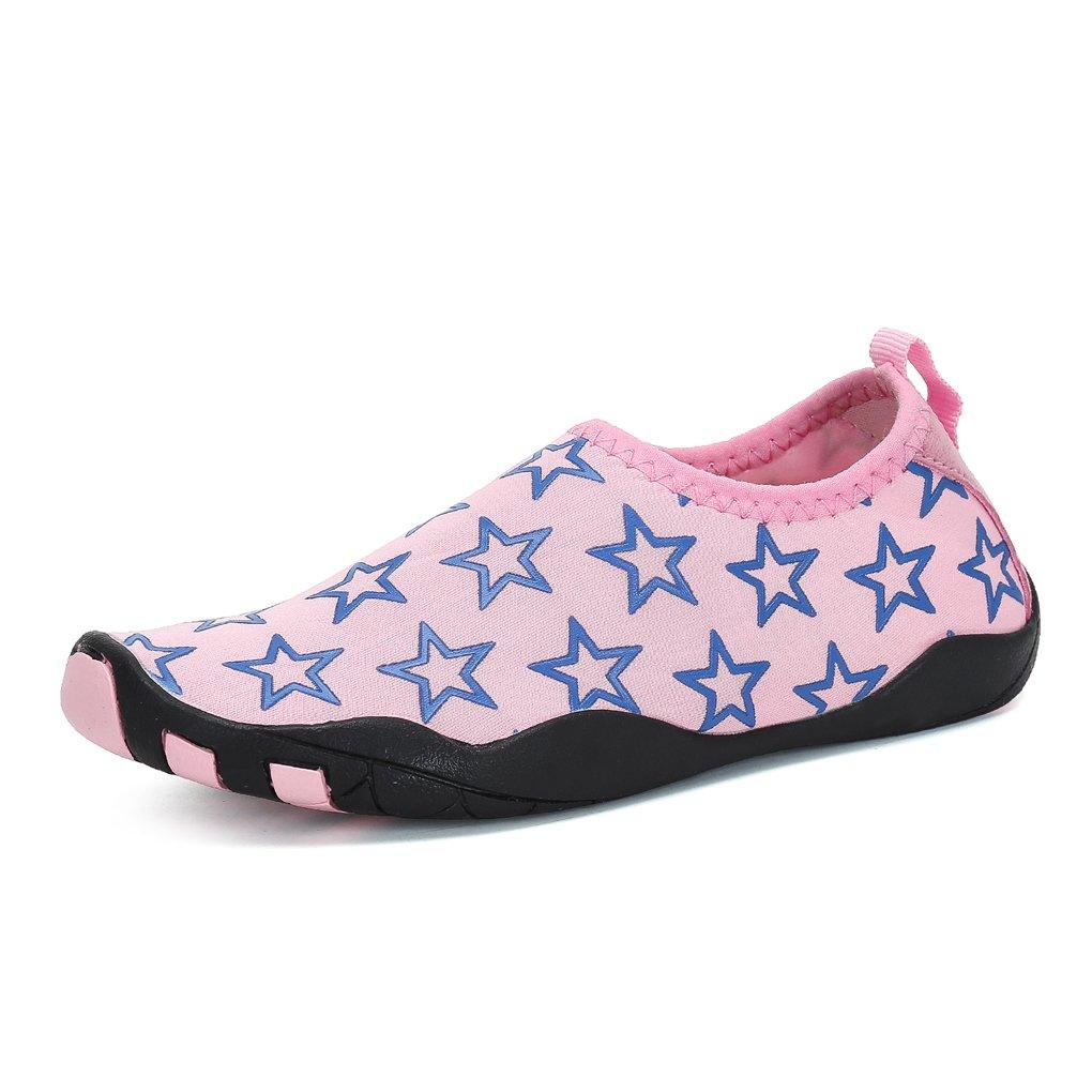 FLARUT Kids Barefoot Water Skin Shoes Lightweight Aqua Socks for Beach Pool Swim Surf Yoga Exercise(37 EUR,Pinkblue)