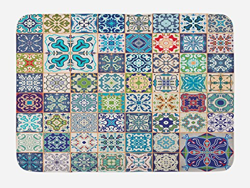 Ambesonne Moroccan Bath Mat by, Floral Patchwork Design with