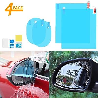 4pcs Car Rear View Mirror Film - Anti-Fog Anti-Glare Anti-Scratch Anti-Mis Rainproof Waterproof HD Mirror Window Film Clear Protective Sticker for Car Mirrors & Side Windows, Safe Driving: Automotive [5Bkhe0111457]
