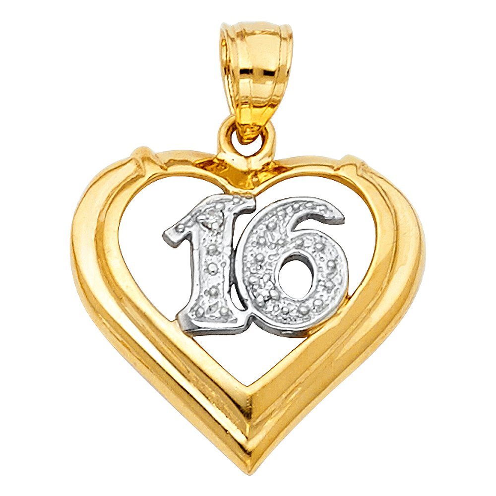 with 18 Rolo Chain 18mm x 20mm Million Charms 14K Two-Tone Gold 16 Years Heart Charm Pendant