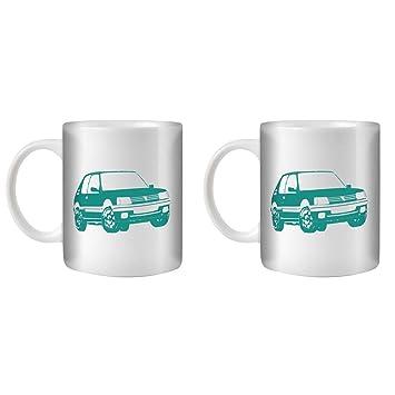 STUFF4 Taza de Café/Té 350ml/2 Pack Turquesa/Peugeot 205 GTI/Cerámica Blanca/ST10: Amazon.es: Electrónica