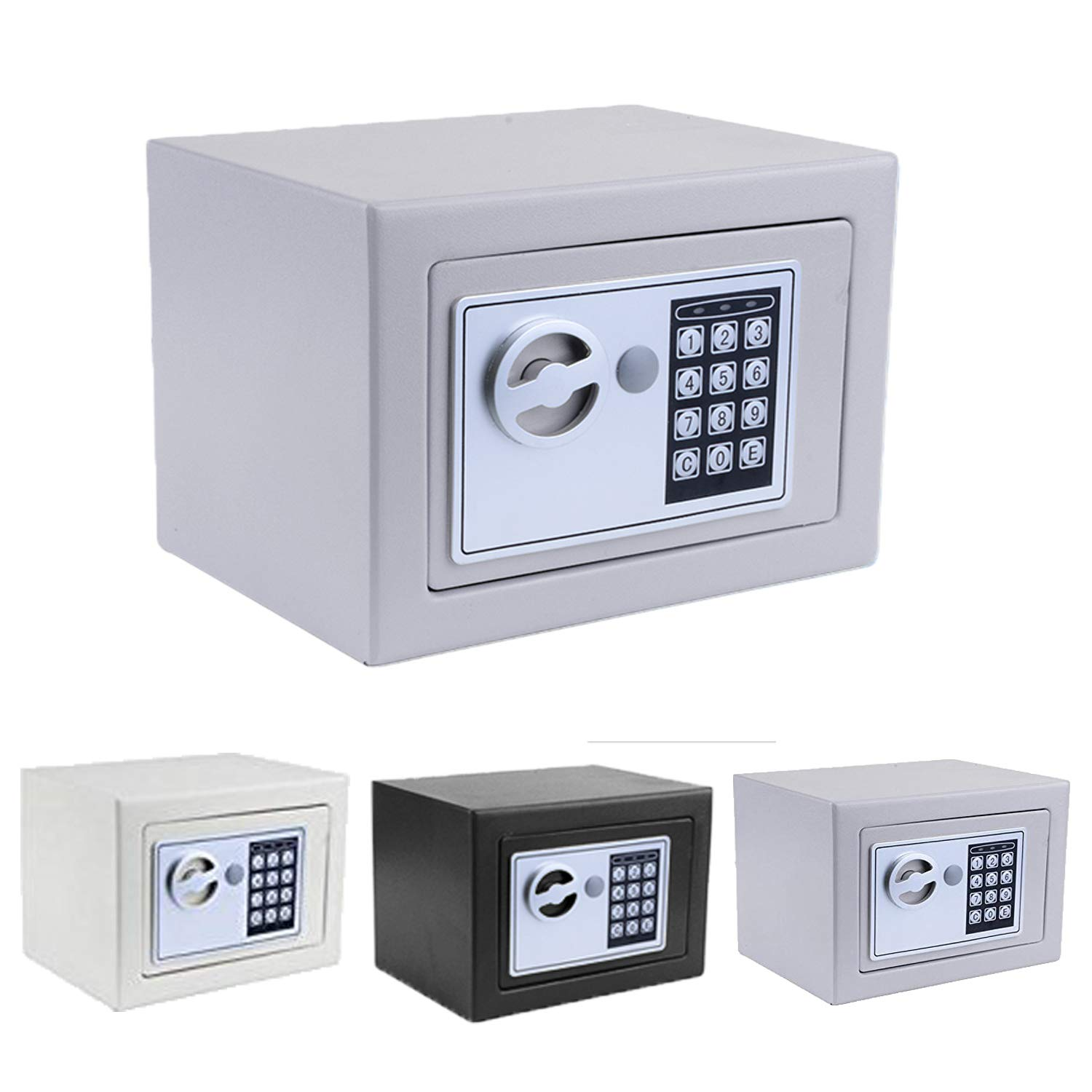 Security Safe, Fireproof Lock Box with Digital Lock Wall Safe for Jewelry Gun Cash Storage (Silver Grey)