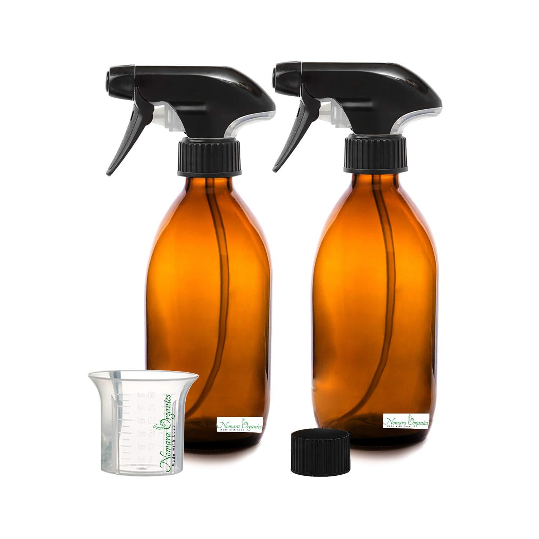 2 x 300 ml senza BPA spray bottiglie di vetro ambrato da Nomara organics (). Confezione da 2 vuoto vetro ambrato con fine Mister, antigoccia, privo di BPA Trigger Sprayers/Atomizer + 1 senza BPA, bicchiere graduato + 1 leak- P