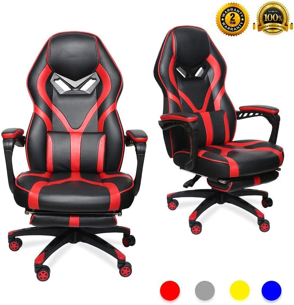LUCKWIND Video Gaming Chair Racing Recliner - Ergonomic Adjustable Padded Armrest Swivel High Back Footrest with Headrest Lumbar Support PU Leather Breathable Seat Cushion Home Office (Black & Red)