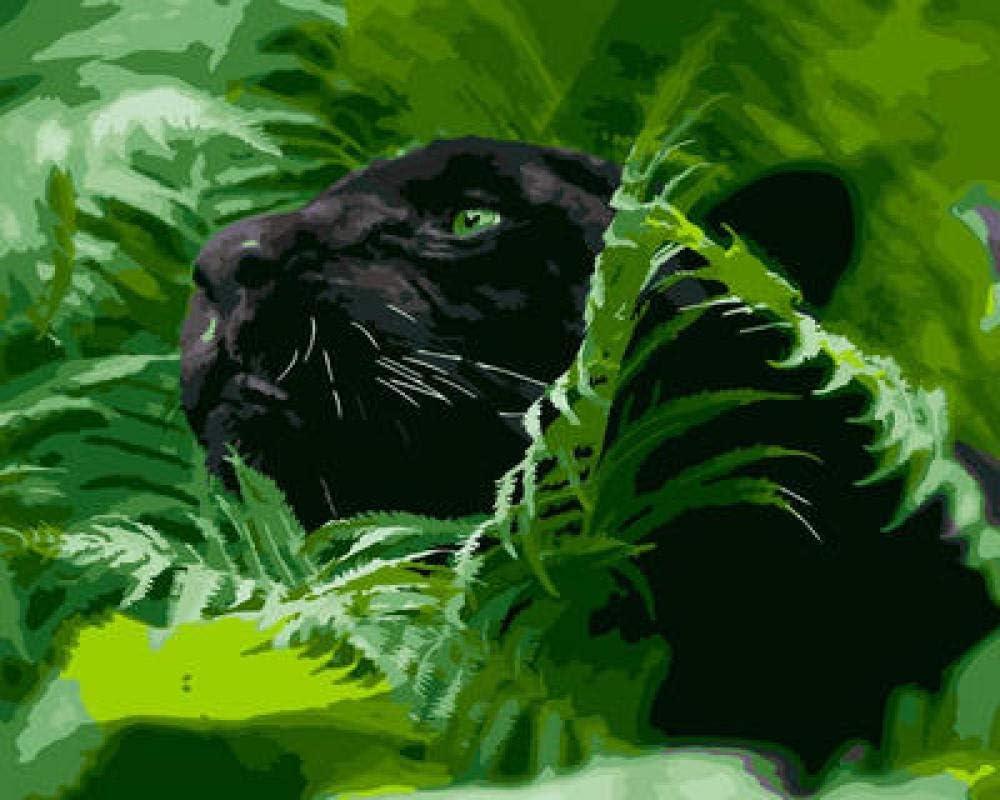KLBPL Lienzos para Pintar con Numeros Hoja Verde Pantera Negra Pintar por Numeros para Adultos Niños Pintura,Mural Decoración Hogareña con Pinceles Y Acrílica 40,6X50,8 Cm(Sin Marco)