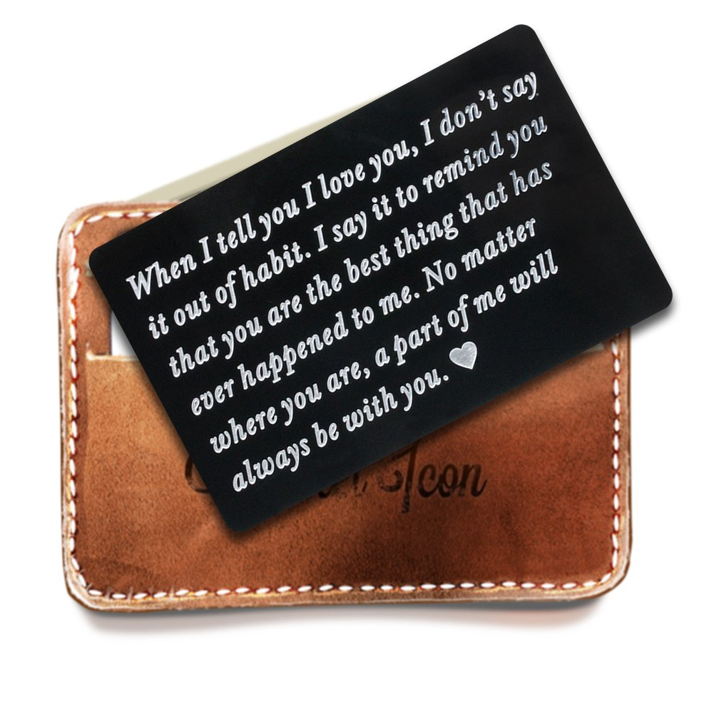 Engraved Stainless Steel Wallet Love Note Insert, Mens Wallet Cards, Love Note Cards, Perfect Gifts for Boyfriend, Husband, Anniversary, Valentine's Day
